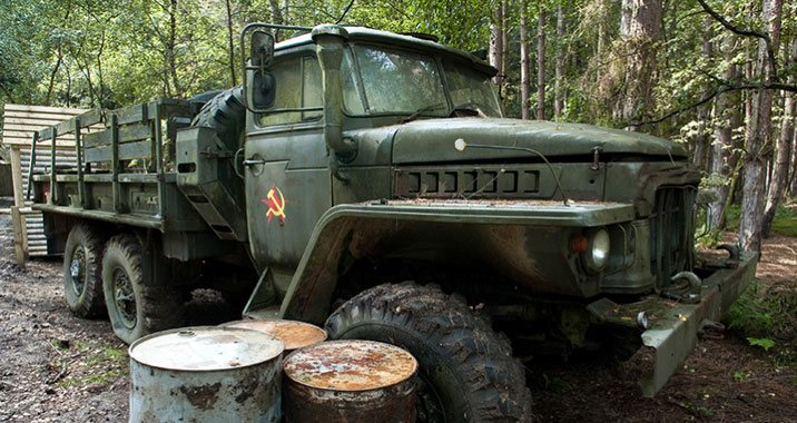 A former Soviet truck taking pride of place in a Britannia Paintball game zone